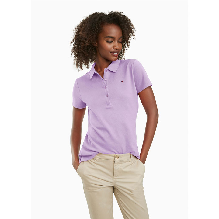 Tommy Hilfiger Regular Fit Essential Stretch Cotton Polo Shirt - Lavendula, Size XS