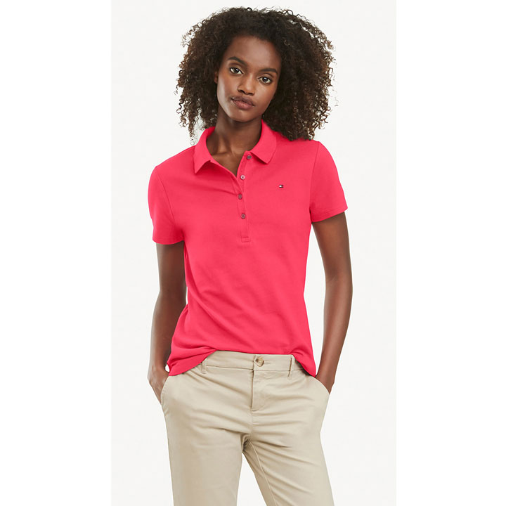 Tommy Hilfiger Regular Fit Essential Stretch Cotton Polo Shirt - Coral, Size XS