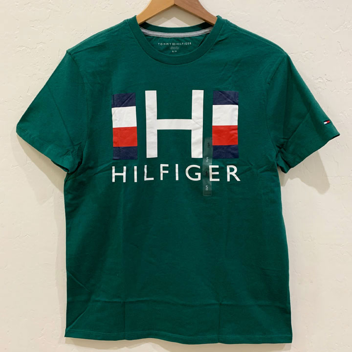 Tommy Hilfiger Men's Big H Flag Crew Neck T-Shirt - Green, Size S