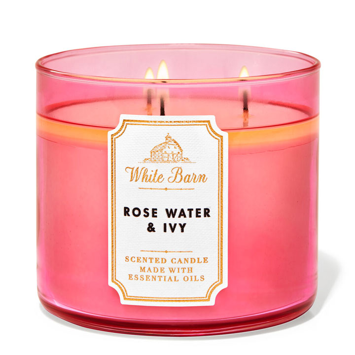 Nến thơm Bath & Body Works White Barn Rose Water & Ivy, 411g