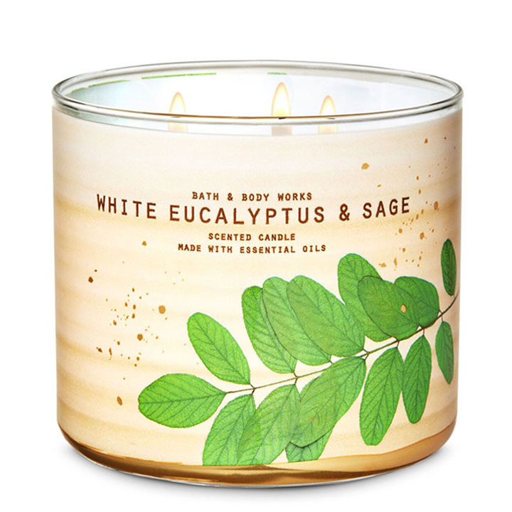 Nến thơm Bath & Body Works White Eucalyptus & Sage, 411g