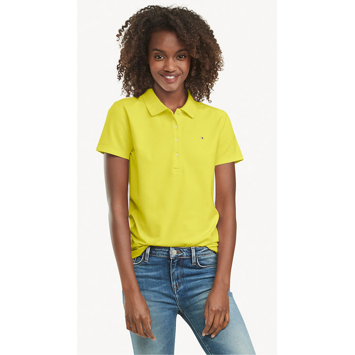 Tommy Hilfiger Regular Fit Essential Stretch Cotton Polo Shirt - Lime, Size XXS