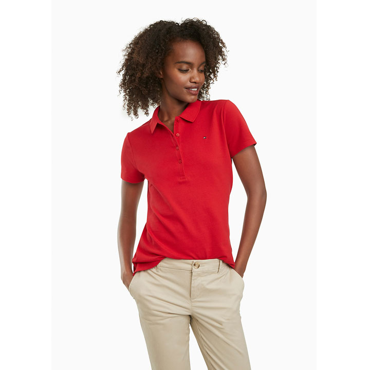 Tommy Hilfiger Regular Fit Essential Stretch Cotton Polo Shirt - Apple Red, Size L