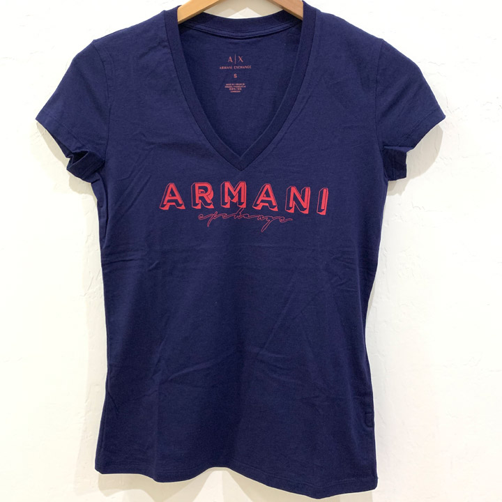 Áo Armani Exchange Graphic V-neck T-Shirt - Navy/ Red, Size M