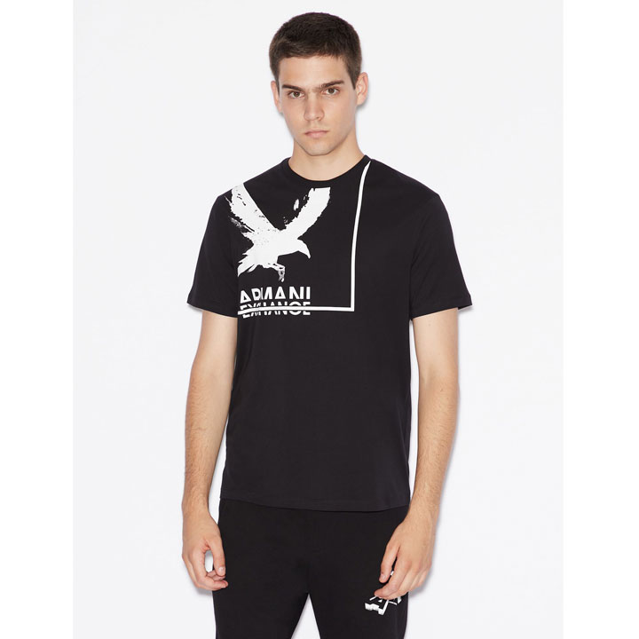 Armani Exchange Textured Bird Graphic T-Shirt - Black, Size S