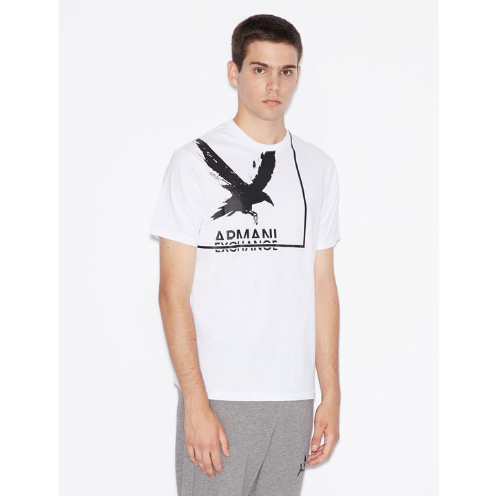Armani Exchange Textured Bird Graphic T-Shirt - White, Size S