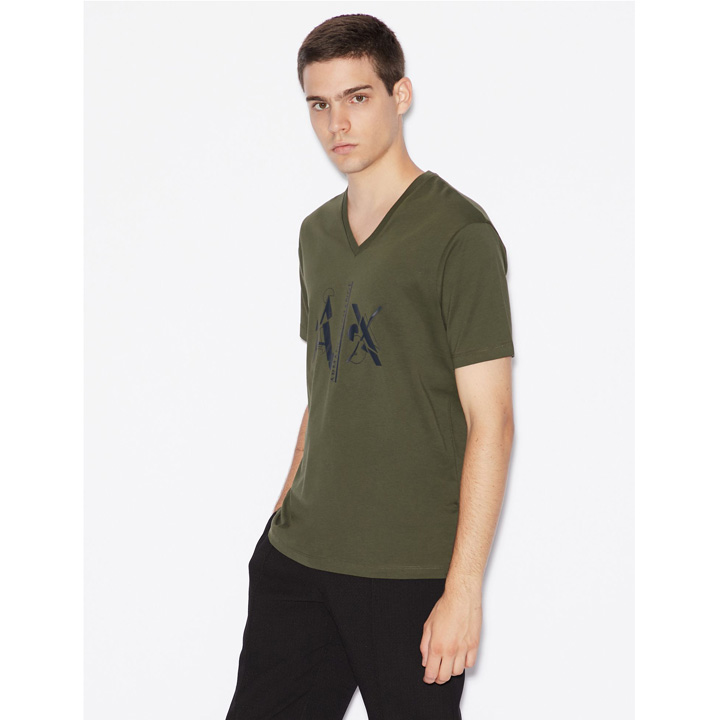 Armani Exchange Logo V- Neck T-Shirt - Dark Green, Size S