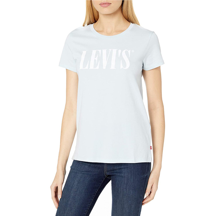 Levi's 90's Serif Logo Graphic Tee Shirt - Baby Blue, Size M