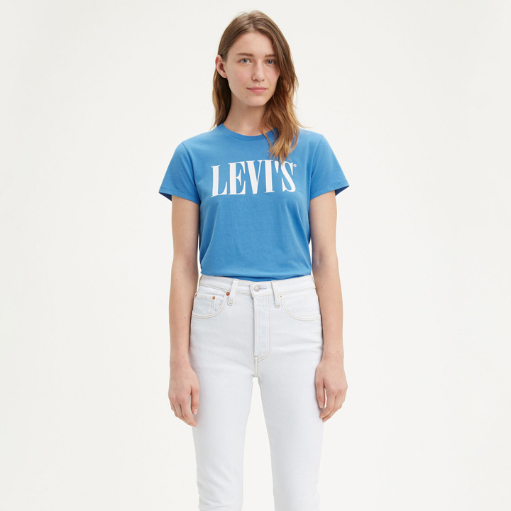 Levi's 90's Serif Logo Graphic Tee Shirt - Blue, Size XS