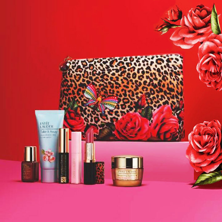 Estee Lauder Gift Set with Leopard Bag and Birthstones