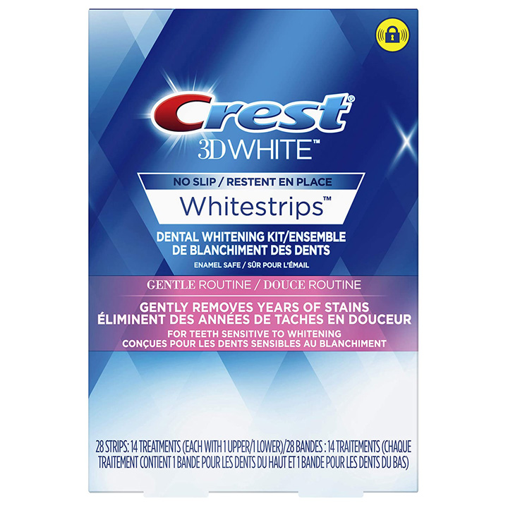 Miếng dán trắng răng Crest 3D White Gentle Routine, 28 miếng