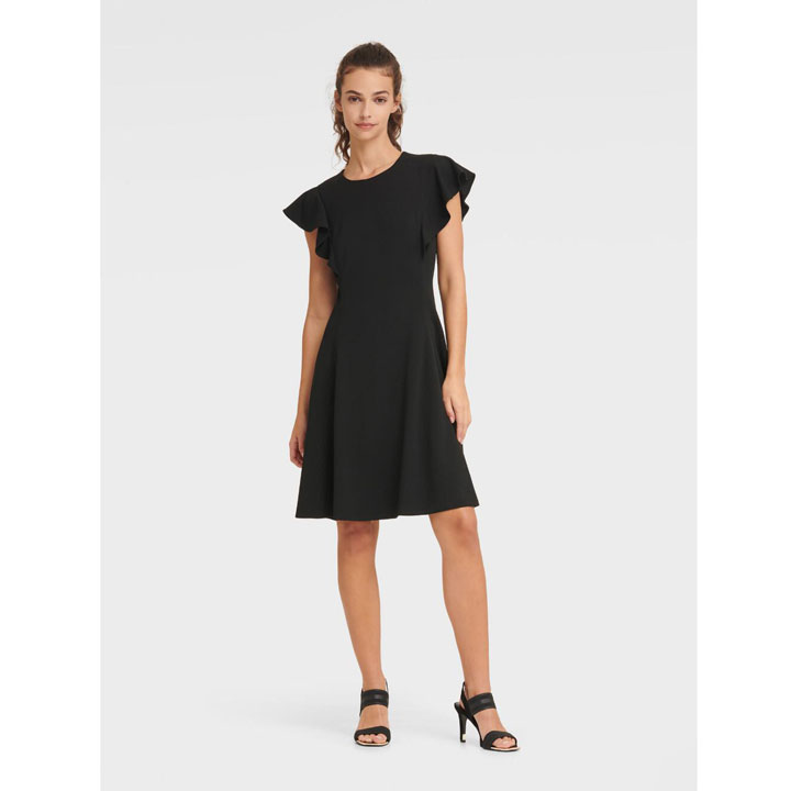 Đầm DKNY Ruffle Cap Sleeve Fit and Flare - Black, Size 4