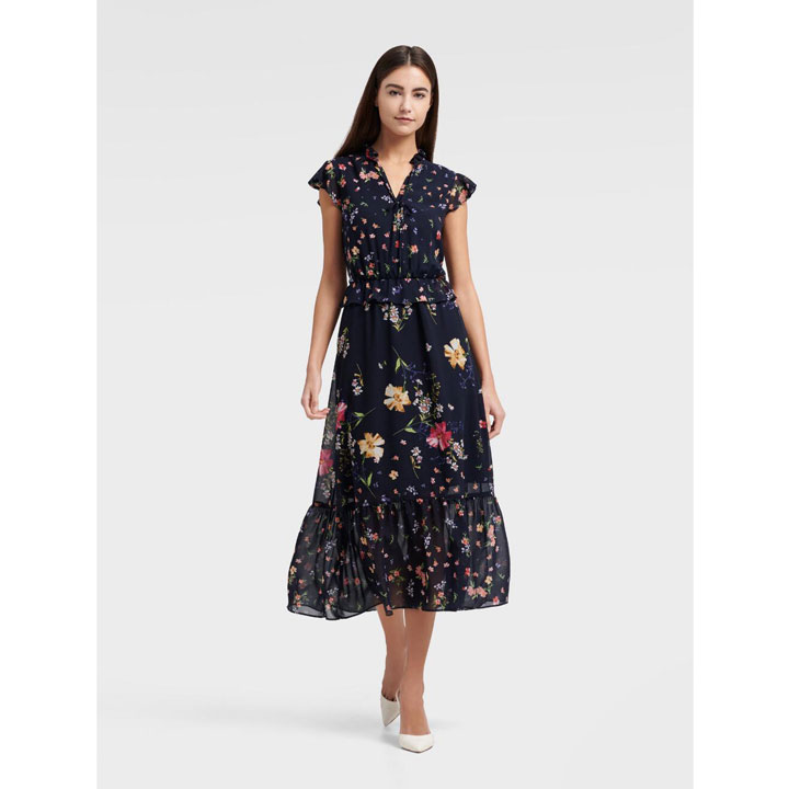 Đầm DKNY High Neck Ruffle Tiered Midi - Spring Navy Multi, Size 0