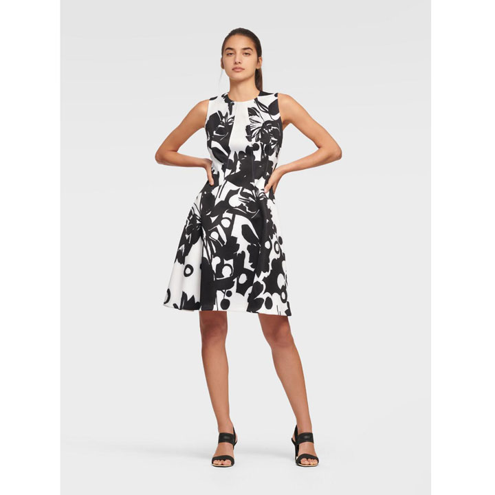 Đầm DKNY Sleeveless Fit and Flare - Cream/ Black, Size 2
