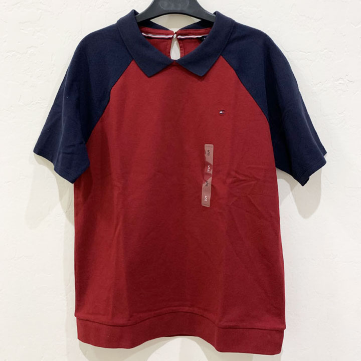Áo Tommy Hilfiger Classic Fit Button Behind Polo - Wine/ Sky Captian, Size S