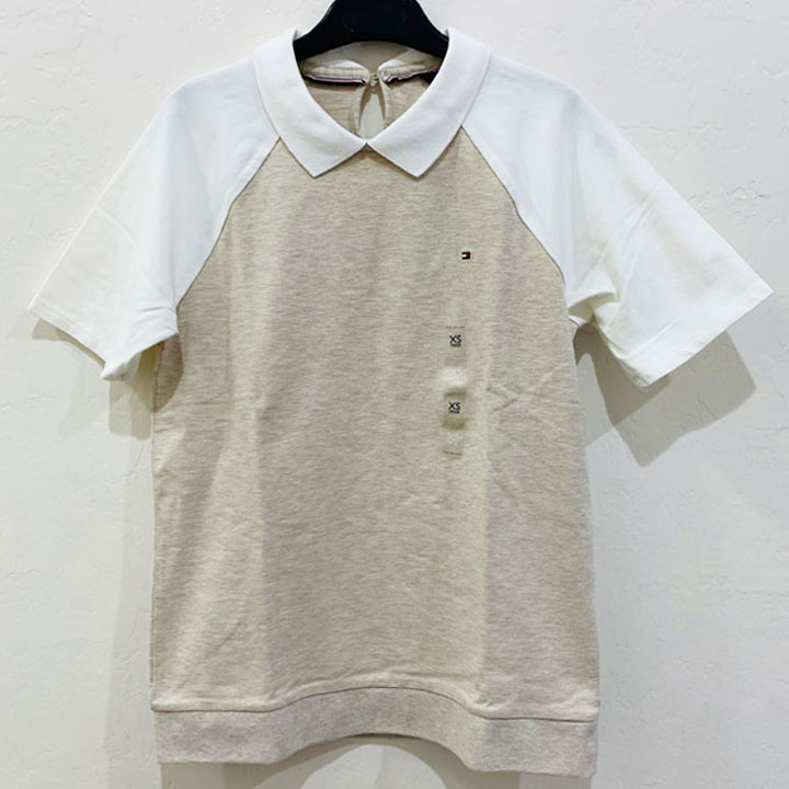 Áo Tommy Hilfiger Classic Fit Button Behind Polo - Cream/ White, Size XS