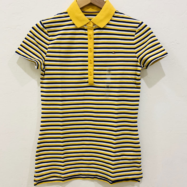 Áo Tommy Hilfiger Feeder Stripe Polo - Yellow/ Navy/ White, Size XS