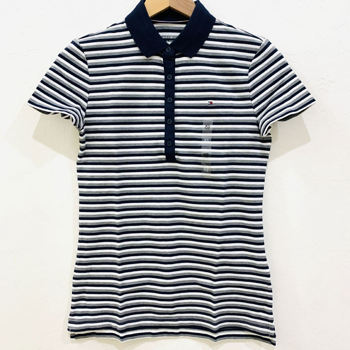 Áo Tommy Hilfiger Feeder Stripe Polo - Navy/ White/ Grey, Size XS