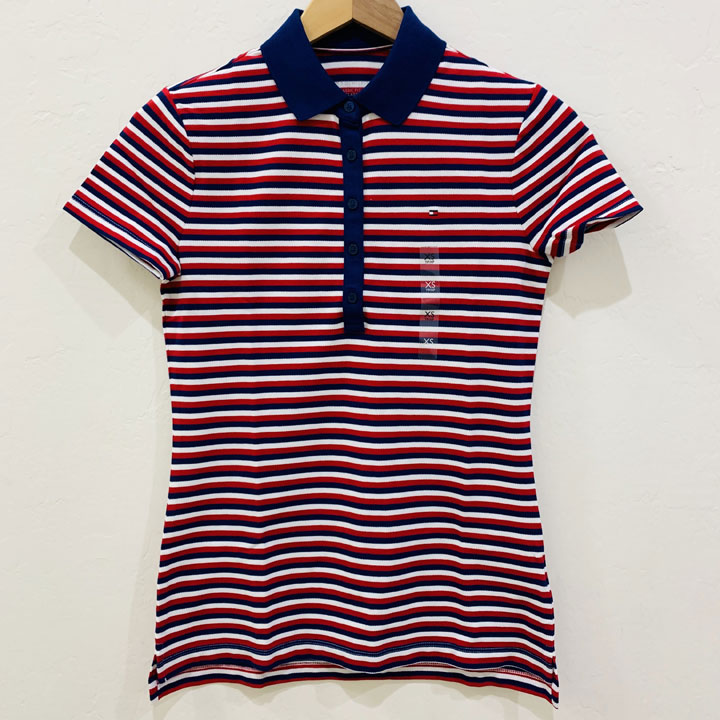 Áo Tommy Hilfiger Feeder Stripe Polo - Navy/ Red/ White, Size M