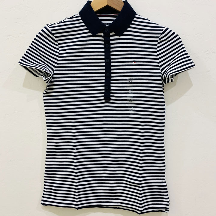 Áo Tommy Hilfiger Feeder Stripe Polo - Navy/ Bright White, Size XS