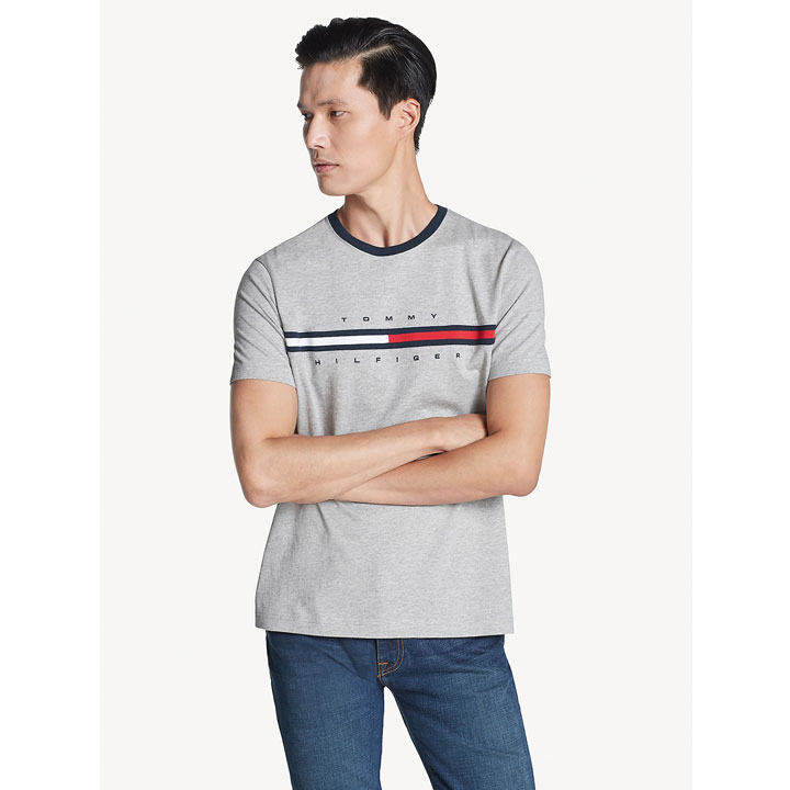 Áo Tommy Hilfiger Essential Flag Logo T-Shirt - Grey, Size S