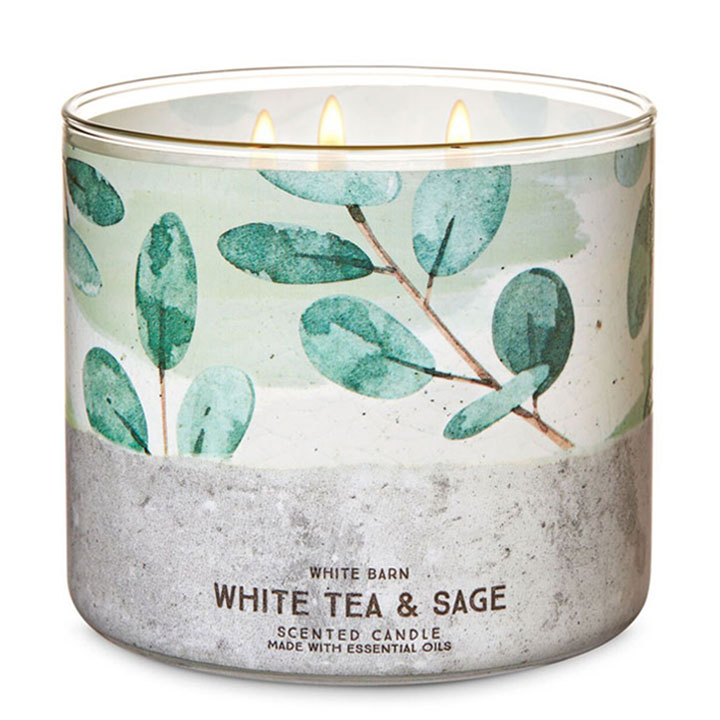 Nến thơm Bath & Body Works White Barn White Tea & Sage, 411g