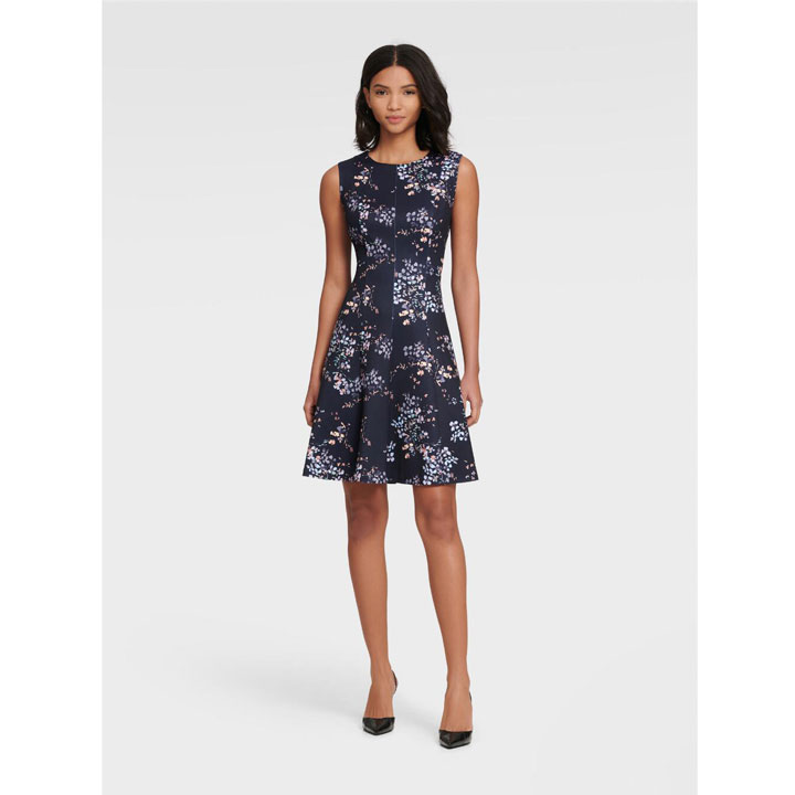 Đầm DKNY Sleeveless Floral Fit and Flare - Midnight Multi, Size 4
