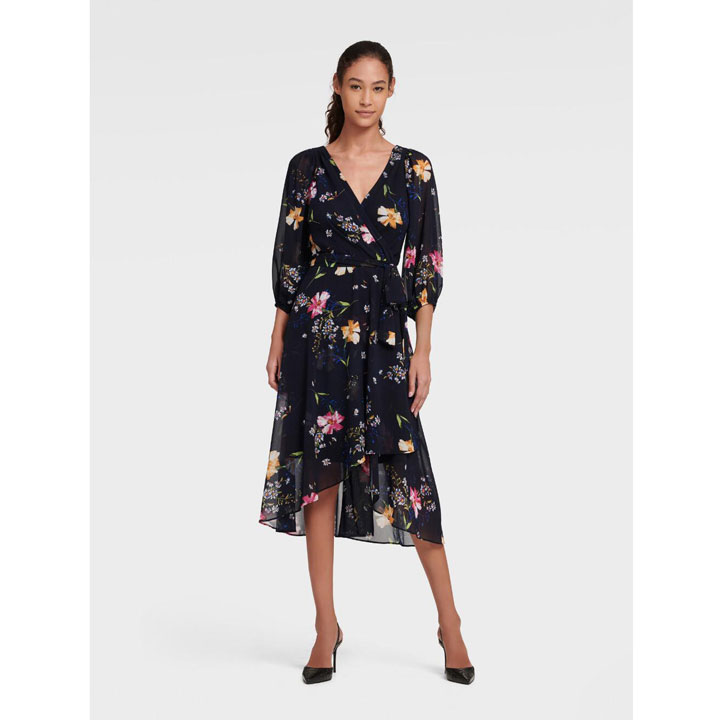Đầm DKNY Floral Faux Wrap with Balloon Sleeve - Spring Navy Multi, Size 2