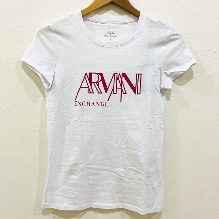 Áo Armani Exchange Graphic Crewneck T-Shirt - White/ Pink, Size XL