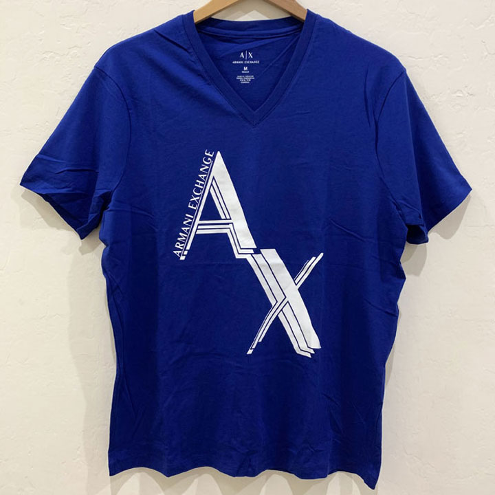 Áo Armani Exchange Graphic V- Neck T-Shirt - Blue/ White, Size M