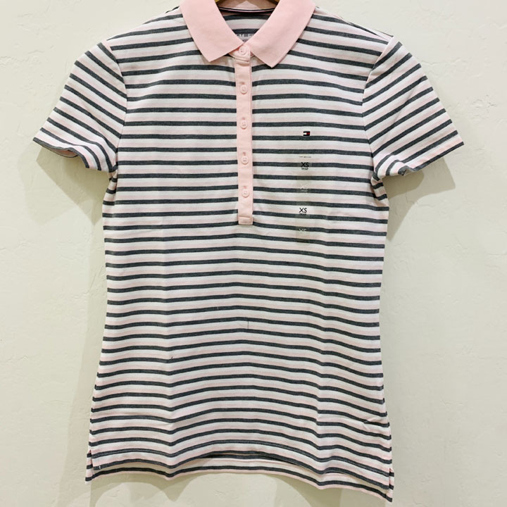 Áo Tommy Hilfiger Feeder Stripe Polo - Light Pink/ Grey/ White, Size XS