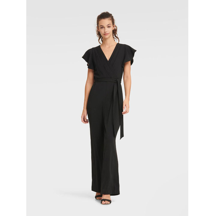 Jumpsuit DKNY Flutter Sleeve V-Neck - Black, Size 6