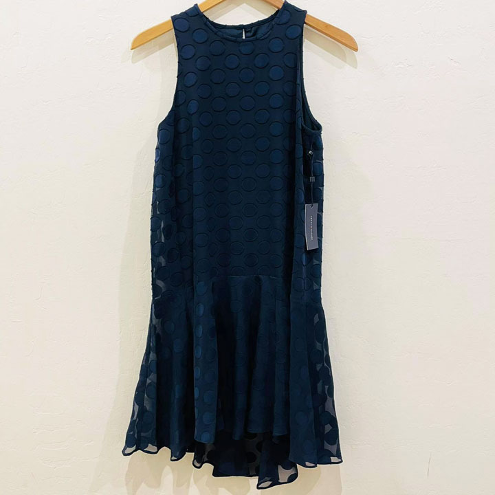 Đầm Tommy Hilfiger Sleeveless Dot-Textured - Navy, Size 2