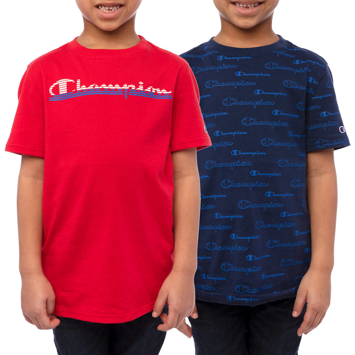 Set 2 áo Champion Youth Short Sleeve Tee - Blue/ Red, size XL (18/20)