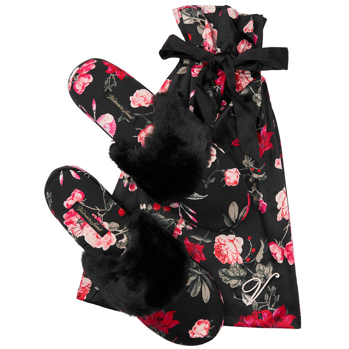 Dép Victoria's Secret Signature Satin - Black/ Bright Cherry Holiday Floral, size L