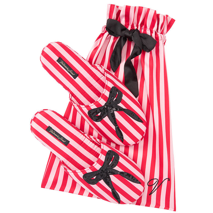 Dép Victoria's Secret Signature Satin & Bow - Red Stripe, size M