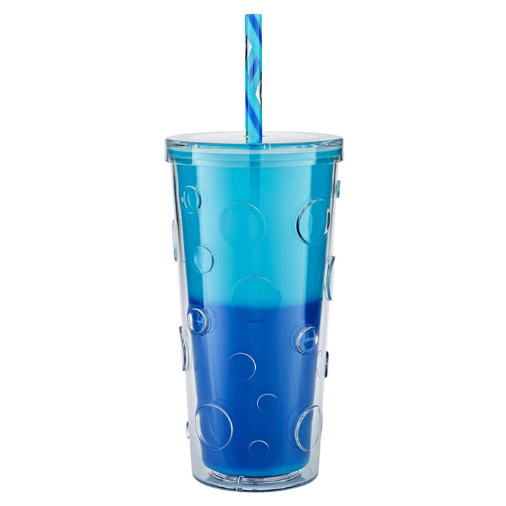 Ly đổi màu Parker Lane Double Wall Straw - Sky, 660ml