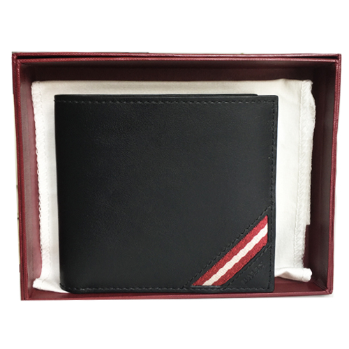 Ví Bally Bi-Fold Plain Leather, Black