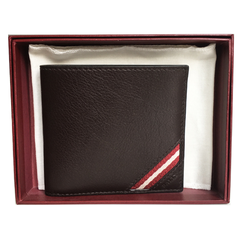 Ví Bally Bi-Fold Plain Leather, Chocolate