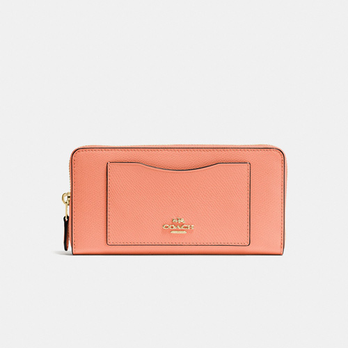 Coach Accordion Zip Wallet Crossgrain Leather, Sunrise