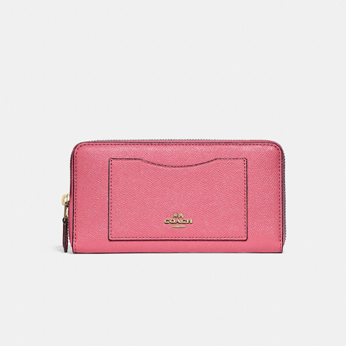Coach Accordion Zip Wallet Crossgrain Leather, Peony