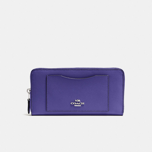 Coach Accordion Zip Wallet Crossgrain Leather, Violet
