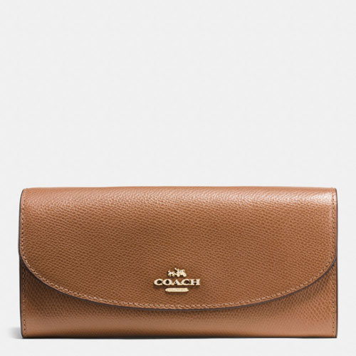 Coach Slim Envelope Crossgrain Leather, Saddle