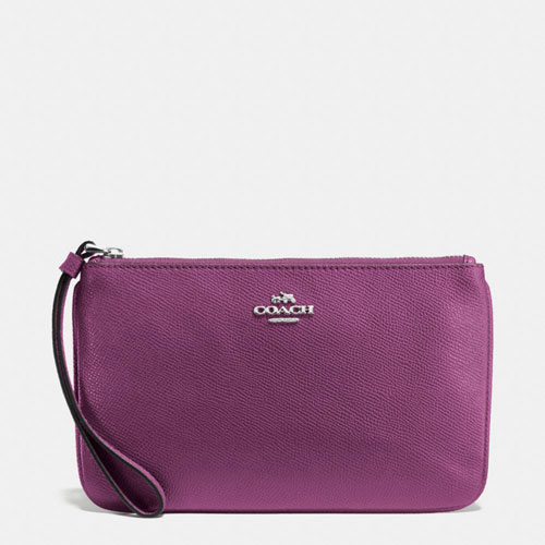 Ví Coach Crossgrain Leather Large Wristlet, Mauve