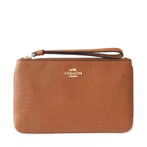 Ví Coach Crossgrain Leather Large Wristlet, Saddle
