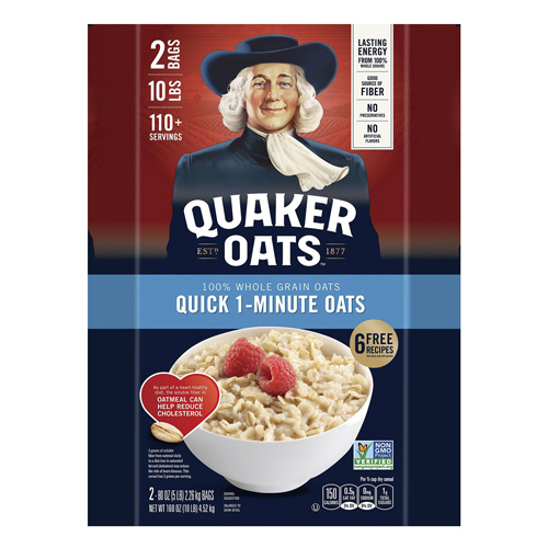 Quaker Oats Quick 1-Minute, 2 x 2.26 kg