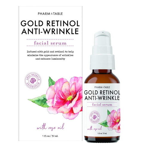 Pharm To Table Gold Retinol Anti Wrinkle Facial Serum - Rose Oil, 30ml
