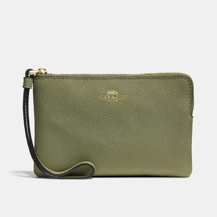 Ví Coach Corner Zip Wristlet, Light Clover