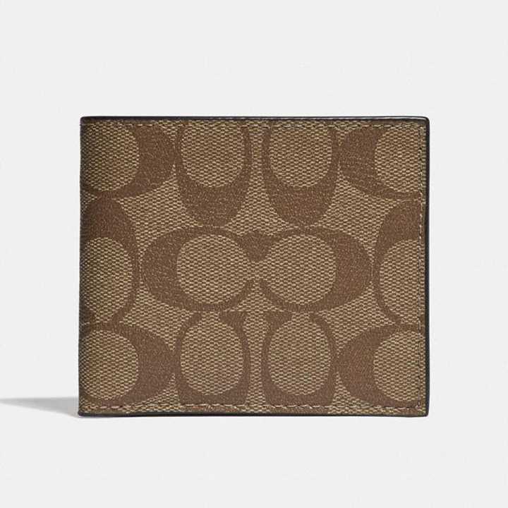 Ví Coach Id Billfold Wallet In Signature Canvas, Tan/Black Antique Nickel