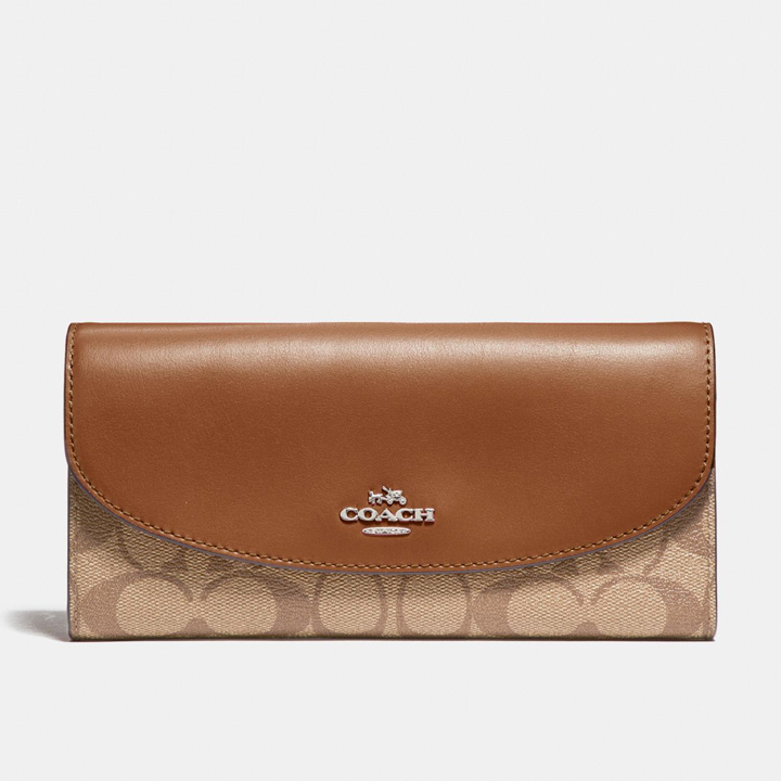 Coach Slim Envelope Wallet In Signature Canvas, Khaki/Saddle 2/Light Gold